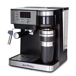 Jack Stonehouse Stainless Steel 15 Bar Combi Espresso & Filter Coffee Machine with Travel Mug & Steam Arm, 1.2 liters