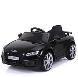 Audi Licensed TT RS 12V OutdoorToys Children's Battery Operated Rechargeable Kids Electric Ride On Toy Car with 2.4G Parental Remote Control, Black