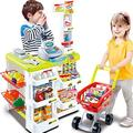 TYZXR Large Supermarket Market Pretend Play Cash Register Trolley Set Toys For Kids Children, Simulation Light And Sound (color : Yellow)