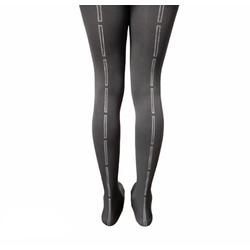 """Hose - Tights Grey Hand Screen Printed Rectangle Design - S/M-36""""-42"""