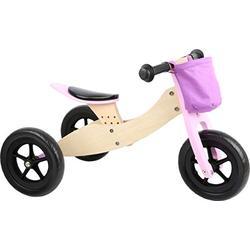 Small Foot 11611 Trike Maxi 2 in 1 Rosa aus Holz, DREI Laufrad, verstellbarer Sitz und gummierte Reifen Toys, Pink