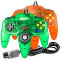 suily 2 Pack Game Controller Classic Joystick for N64 Consoles N64 Games (Transparent Green/Orange)