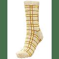 Selected Femme - Yellow/Tan Checked Glitter 'Vida' Ankle Socks