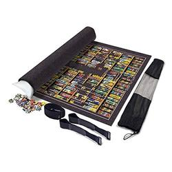 Fun-PT Jigsaw Puzzle Roll Mat Foldable Jigroll Puzzle Storage Felt Mat 1000 2000 6000 Pieces, Large 190 * 130cm Thick Blanket Protection Pad Gray, Portable Inflatable Core (Color : Dark gray)