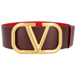 Reversible V-logo Leather Belt - Red - Valentino Belts