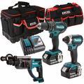 Makita 3 Piece Tool Kit 18V LXT 2 x 5.0Ah Batteries Charger & Bag T4TKIT-6565:18V