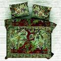 The Art Box Indian Green Tree of Life Mandala Duvet Cover Cotton Bedding Set Comforter, Blanket, Quilt, Doona Cover with Pillow Case (Queen Size)