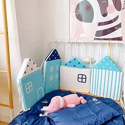 4pcs Baby Bed Bumper Little House Pattern Crib Protection Infant Cot Newborn Bedding Baby Bed Bedding (Blue House)