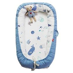 Hayisugal Newborn Lounger, Portable Super Soft Breathable Baby Snuggle Nest, Baby Bionic Bed for Infants Toddlers - Cotton Crib Mattress for Bedroom Travel, Blue Ocean