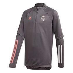 Real Madrid Adidas Stagione 2020/21 Felpa con Cerniera Ufficiale per Bambini, Bambino, Felpa con Cerniera Ufficiale, FQ7848, Grigio, 13-14 Años