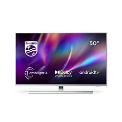 Philips Ambilight 50PUS8545/12 50-Inch LED TV (4K UHD, P5 Engine, Dolby Vision, Dolby Atmos, HDR 10+, Freeview Play, Compatible with Alexa, Android TV) Mid Silver/Light Silver (2020/2021 Model)