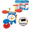 LEXIBOOK K610 Electronic Set for Children, Musical Toy Game, Realistic Drum Sound, 8-Keys Keyboard, MP3 Plug, seat Included, Blue/red