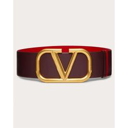 Reversible Vlogo Belt In Glossy Calfskin 70 Mm - Red - Valentino Garavani Belts