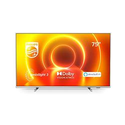 Philips Ambilight 75PUS7855/12 75-Inch LED TV (4K UHD, P5 Perfect Picture Engine, Dolby Vision, Dolby Atmos, HDR 10+, Alexa Built-In, Freeview Play, Saphi Smart TV) Mid Silver (2020/2021 Model)