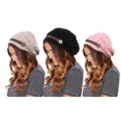 Women's Beanie Hat with Button: Black and Rose (One of Each)