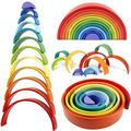 Lewo 12 PCS Wooden Rainbow Stacker Large Nesting Puzzle Stacking Game Wooden Montessori Toys Arch Building Blocks Educational Learning Toy for Toddler Kids Baby Boys Girls