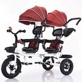 SXRDZ Four-in-one Twin Tricycle For Children, Two-seater Pedal Bicycle, Stroller With Sunshade, Two-way Rotating Seat/removable Rear Push Handle/retractable Pedals