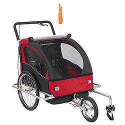 2in1 Design Twins Bike Stroller Baby Stroller with 20 Inch Wheels Fold Bike Trailer Kids Jogger Stroller Bike Tandem Bicycle Trailer