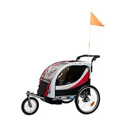 Aluminum Alloy Frame Baby Stroller with 20 Inch Wheel Fold Bike Trailer Kids Jogger Stroller Bike Tandem Bicycle Trailer-red