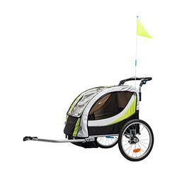 Aluminum Alloy Frame Baby Stroller with 20 Inch Wheel Fold Bike Trailer Kids Jogger Stroller Bike Tandem Bicycle Trailer-Green