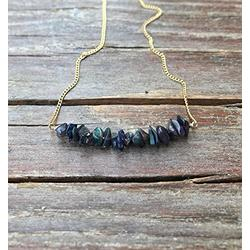 LKBEADS October birthstone necklace/Dark opal necklace/Black opal necklace/Gift for her/Gift for wife/Raw gemstone jewelry