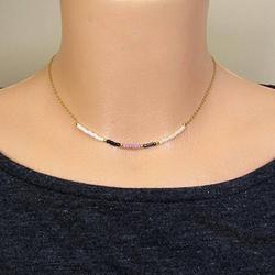 LKBEADS Dainty Necklace, Tiny Choker Necklace, Multicolor Choker, 925 Sterling Silver Choker Necklace, Layered Choker Necklace, Gold Choker Necklace 2mm