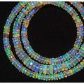 LKBEADS 1 Strand Natural Ethiopian Opal Rare Facet Heishi Shape Rondelle Bead Size 4 to 8mm Necklace 17 Inch