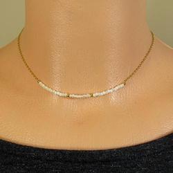 LKBEADS Pearl Choker Necklace, Tiny Gold Choker, Freshwater Pearl Necklace, Dainty Pearl Necklace, Delicate Gold Filled Short Necklace, Boho Choker 2mm