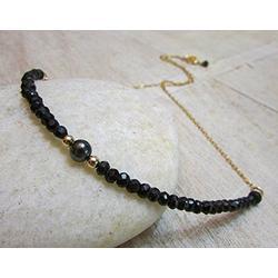 LKBEADS Black Spinel Necklace, Black Spinel Pearl Necklace, Black Beaded Necklace, Bohemian Beaded Necklace, Gypsy Black Gold, Stone, Boho, Elegant 3~3.5 mm