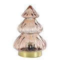 Light & Living - Pink Glass LED Tree Table Lamp - 12 cm diameter x 18 cm height   glass   old pink - Old pink