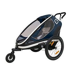 Hamax Outback Reclining Multi-Sport Child Bike Trailer + Stroller (Jogger Wheel Sold Separately) (Navy/White, One Seat)