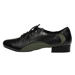 "HIPPOSEUS Men's Style Ballroom Tango Latin Dance Shoes Jazz Modern Black Social Dance Shoe Soft Split Sole with 1"" Heel,9.5 UK"