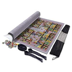 XYMLGS Flexible Roll Mat Jigsaw Puzzle Roll Mat Foldable Jigroll Puzzle Storage Felt Mat 1000 2000 6000 Pieces, Large 190 * 130cm Thick Blanket Protection Pad Gray, Portable Inflatable Core present