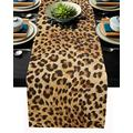 Leopard Print Table Runner-Cotton linen-Long 108 inche Cheetah Print Dresser Scarves,Animal Tablerunner for Kitchen Coffee/Dining/Sofa/End Table Bedroom Home Living Room,Scarf Decor for Holiday Dinner