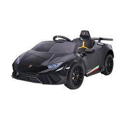 RICCO TOYS 12V Lambo Huracán Licensed Battery Powered Kids Electric Ride On Toy Car (BLACK)