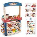 Delex Ice Cream Desert Shop 55 Piece Grocery Supermarket Pretend Playset With Scanner Cash Register Light and Sound Blue