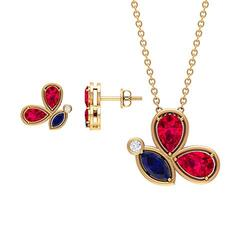 2.93 CT Gold Locket Earrings Sets, Gemstone Butterfly Necklace for Women, Pear Cut Ruby Necklace, Marquise Blue Sapphire Pendants, Women Stud Earrings, 14K Yellow Gold Without Chain