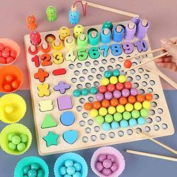 Montessori Toy Wooden Educational Toys, Children Hands Brain Training Game, Puzzle Game, Montessori Educational Toy, Wooden Games Set Beads Toy, Clip Bead Game, Wooden Toys Gift for Boys and Girls