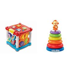 VTech Baby Turn and Learn Baby Activity Cube | Interactive Educational Toy with Shape Sorter, Music & Sounds for Early Development & Vtech Stack and Discover Rings