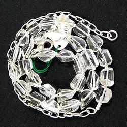 """LKBEADS Clear Quartz Necklace One Full 16"""" Strand Necklace Crystal Faceted Nuggets Beaded Necklace"""
