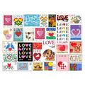 AOLYDA Wooden Love Stamps Jigsaw Puzzle Adult Kids Assembling Picture Brain Exercise Puzzle Game for Couple Stamps Jigsaw Puzzle Toy Gift 1000