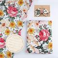 Bamboo Cotton Muslin Floral Swaddle Blankets Girl with Headband  Hospital Newborn Baby Receiving Blanket  Silky Soft Large 47??X47??  Newborn Baby Nursery Swaddle Wrap  Birth Announcement Card