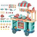 HOMCOM 50 Pcs Kids Fast Food Shop Cart Pretend Playset Kitchen Supermarket Toys Trolley Set with Play Food Money Cash Register Accessories Gift for Boys Girls Age 3-6