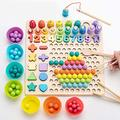 Montessori Educational Toy, Kids Wooden Board Early Education Sticks Beaded Puzzle Magnetic Fishing Game, Children Hands Brain Training Clip Beads Puzzle Board Preschool Learning Math Game