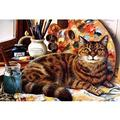 Wooden Canvas On The Cat Wooden Puzzle 500 1000 1500 Pieces Of Art Puzzles, Adult Children Entertainment Toys, Stress Relief Toys 0221 ( Color : A , Size : 1000 pieces )