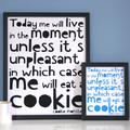 Cookie Monster Quote Print, Black/White/Blue