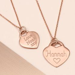 Personalised Rose Gold Heart Charm Necklace, Gold