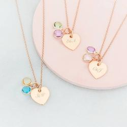 Personalised You And Me Heart Birthstone Necklace, Silver/Rose Gold/Rose