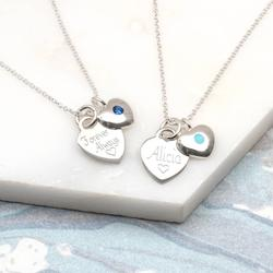 Birthstone Personalised Sterling Silver Heart Necklace, Silver
