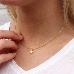 18ct Gold Tiny Star Necklace, Gold